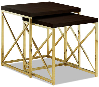 Emery Nesting Tables - Cappuccino and Gold|Tables gigognes Emery - cappuccino et dorées|EME2PETB