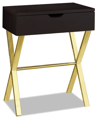 Emery End Table - Cappuccino and Gold|Table de bout Emery - cappuccino et dorée|EMELGETB