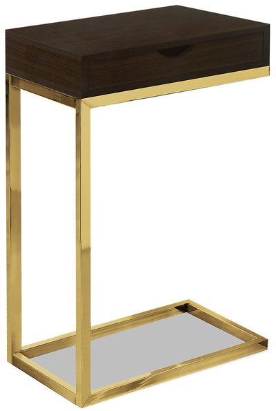 Emery Chairside Table with Drawer - Cappuccino and Gold|Table de fauteuil Emery avec tiroir - cappuccino et dorée|EMEMDETB