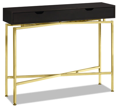 Emery Sofa Table - Cappuccino and Gold|Table de salon Emery - cappuccino et dorée|EMERYCON