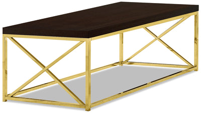 Emery Coffee Table - Cappuccino and Gold|Table à café Emery - cappuccino et dorée|EMERYCTB