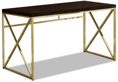 Emery Desk - Cappuccino and Gold|Bureau Emery - cappuccino et doré|EMERYDSK
