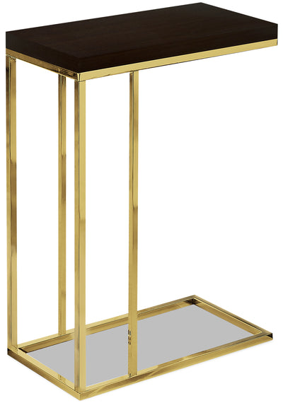 Emery Chairside Table - Cappuccino and Gold|Table de fauteuil Emery - cappuccino et dorée|EMESMETB