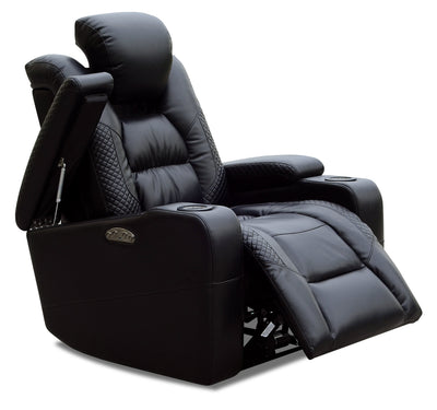 Enzo Leather-Look Power Recliner with Power Headrest - Black
