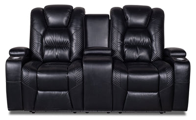 Enzo Leather-Look Power Reclining Loveseat with Power Headrest - Black