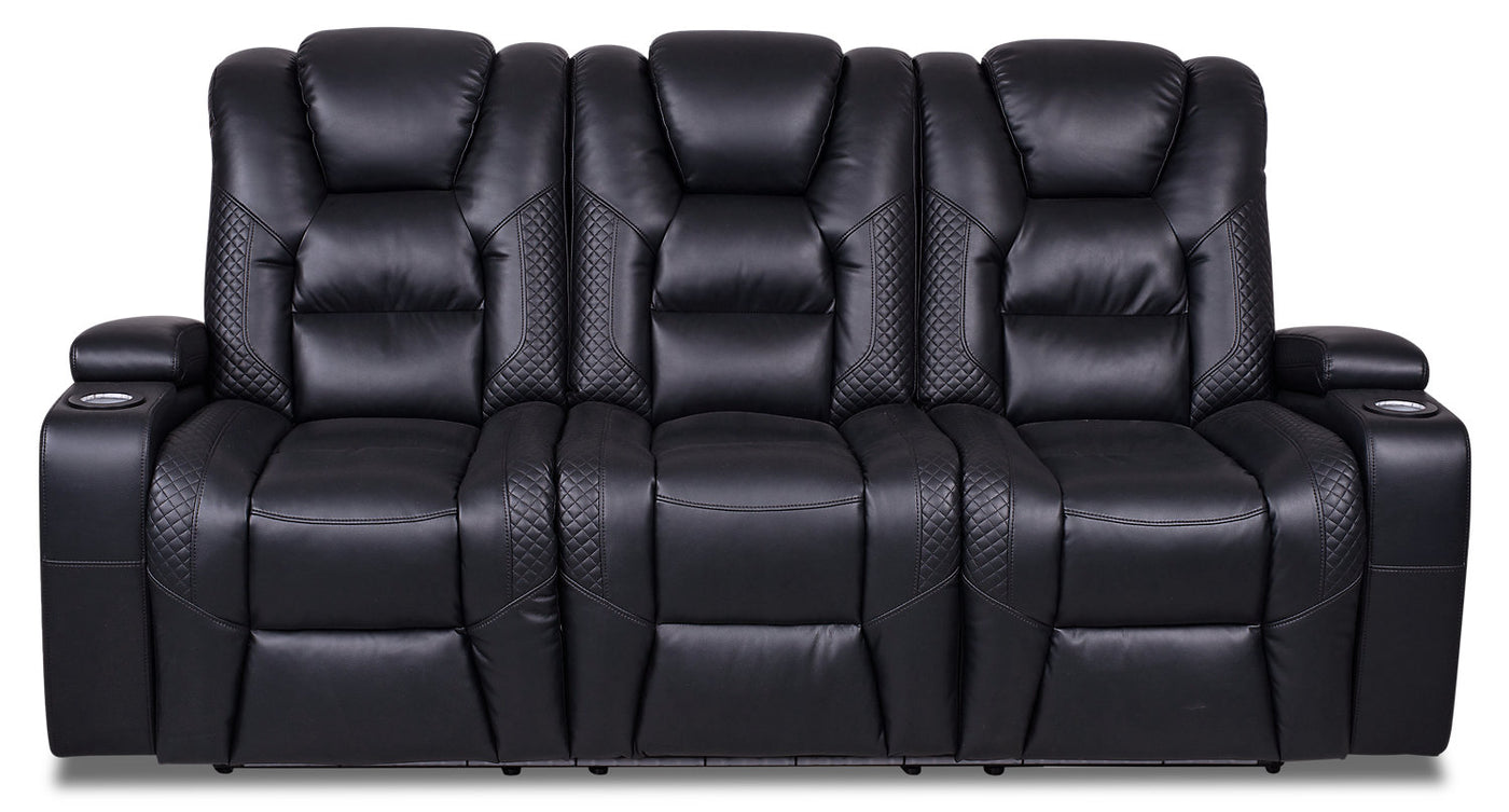 - Enzo Leather-Look Fabric Power Reclining Sofa With Power Headrest