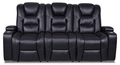 Enzo Leather-Look Fabric Power Reclining Sofa with Power Headrest - Black