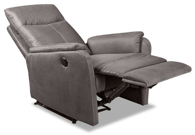 Eva Faux Suede Power Recliner - Dark Grey - {Contemporary} style Chair in Dark Grey {Plywood}, {Solid Woods}