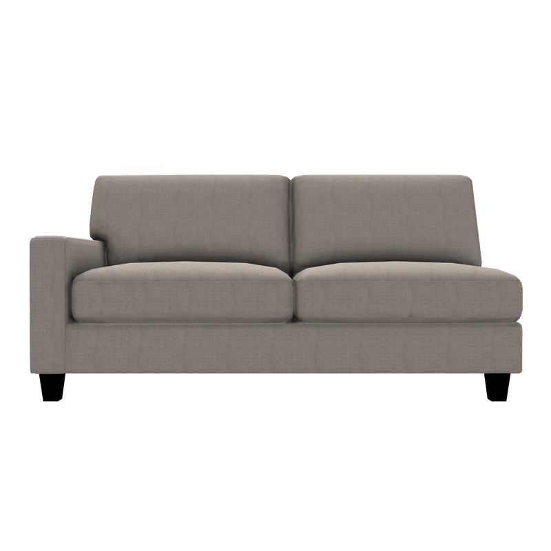 Designed2B Farah Textured Polyester LAF Sofa - Plush Pewter - Laf Sofa