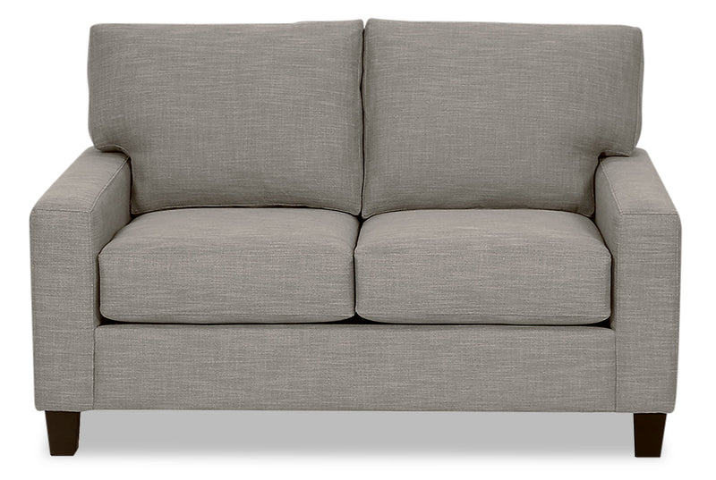 Designed2B Farah Linen-Look Fabric Loveseat - Cabo Silver - {Contemporary} style Loveseat in Cabo Silver {Solid Hardwoods}