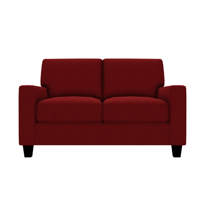 Designed2B Farah Linen-Look Fabric Loveseat - Cabo Crimson - Loveseat
