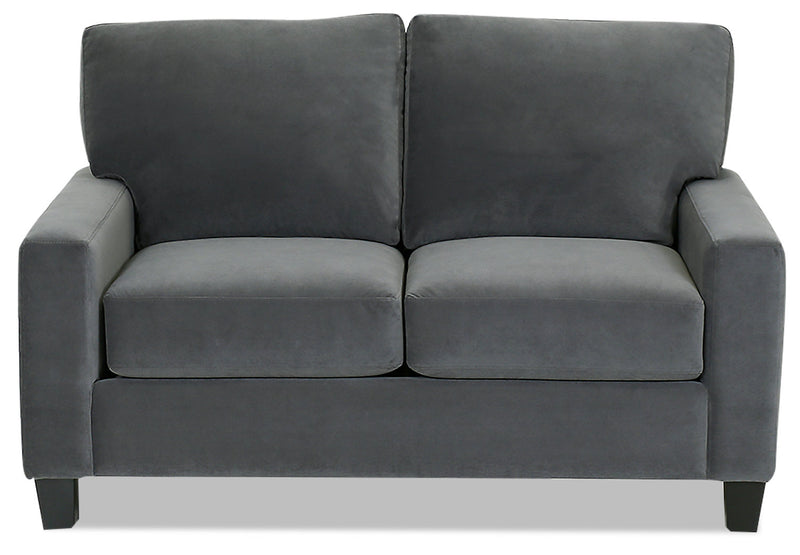 Designed2B Farah Velvet Loveseat - Kira Grey - {Modern} style Loveseat in Kira Grey {Solid Hardwoods}