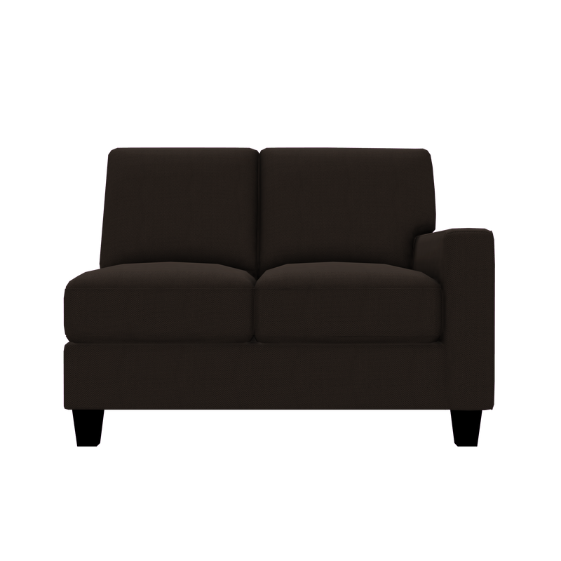 Designed2B Farah Textured Polyester RAF Loveseat Sectional - Plush Chocolate - Raf Loveseat Sectional