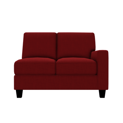 Designed2B Farah Linen-Look Fabric RAF Loveseat Sectional - Cabo Crimson - Raf Loveseat Sectional
