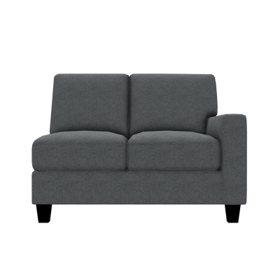 Designed2B Farah Velvet RAF Loveseat Sectional - Kira Grey - Raf Loveseat Sectional