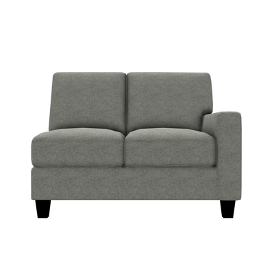 Designed2B Farah Velvet RAF Loveseat Sectional - Kira Platinum - Raf Loveseat Sectional