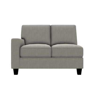 Designed2B Farah Linen-Look Fabric LAF Loveseat Sectional - Cabo Silver - Laf Loveseat Sectional