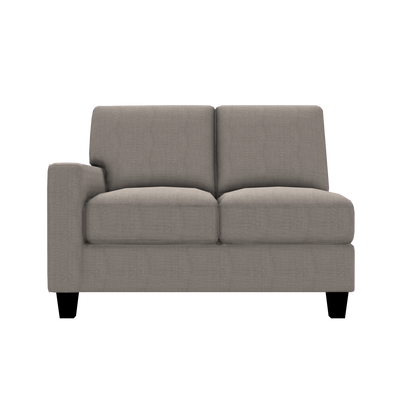 Designed2B Farah Textured Polyester LAF Loveseat Sectional - Plush Pewter - Laf Loveseat Sectional