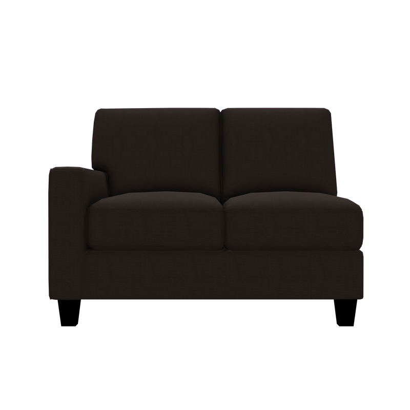 Designed2B Farah Textured Polyester LAF Loveseat Sectional - Plush Chocolate - Laf Loveseat Sectional