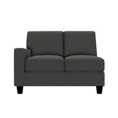 Designed2B Farah Linen-Look Fabric LAF Loveseat Sectional - Cabo Graphite - Laf Loveseat Sectional