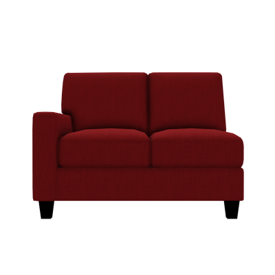 Designed2B Farah Linen-Look Fabric LAF Loveseat Sectional - Cabo Crimson - Laf Loveseat Sectional