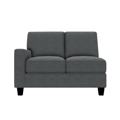 Designed2B Farah Velvet LAF Loveseat Sectional - Kira Grey - Laf Loveseat Sectional