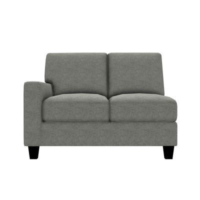 Designed2B Farah Velvet LAF Loveseat Sectional - Kira Platinum - Laf Loveseat Sectional