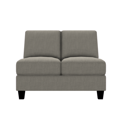 Designed2B Farah Linen-Look Fabric Armless Loveseat - Cabo Smoke - Armless Loveseat