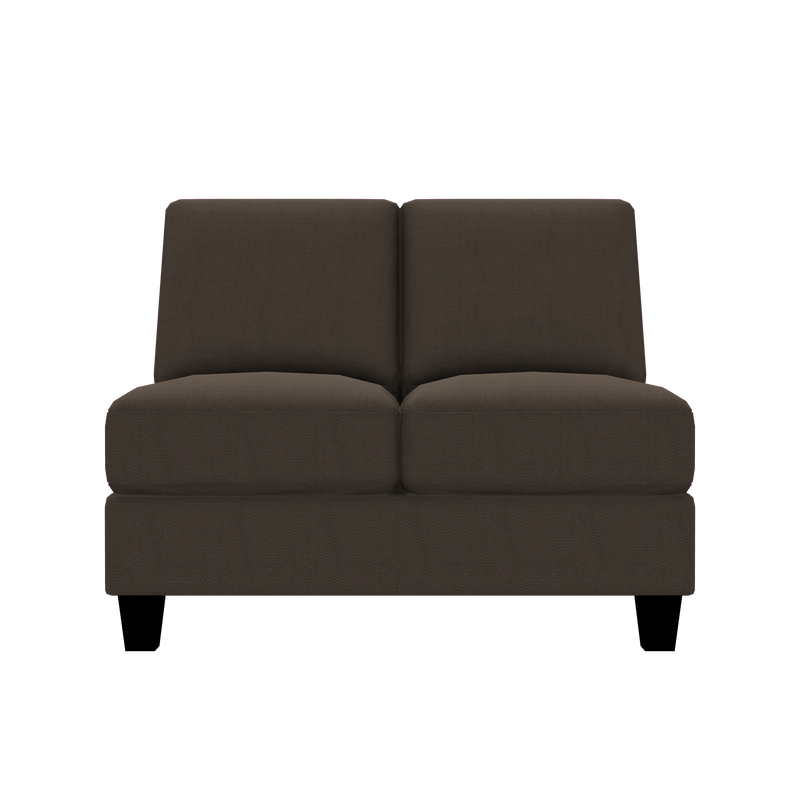 Designed2B Farah Textured Polyester Armless Loveseat - Plush Dark Ash - Armless Loveseat