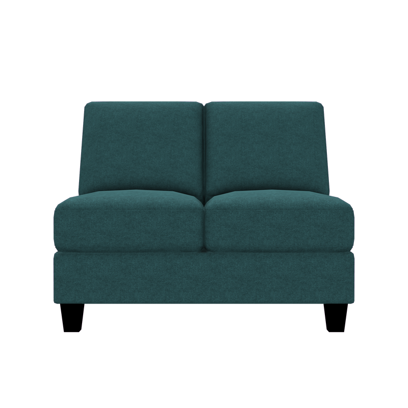 Designed2B Farah Velvet Armless Loveseat - Kira Sea - Armless Loveseat