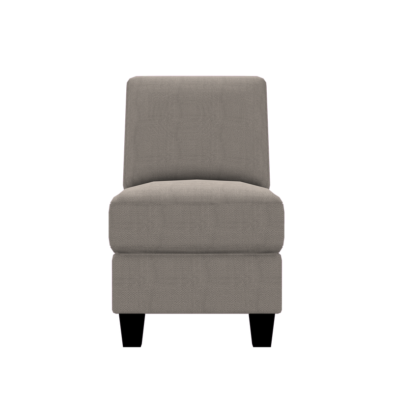 Designed2B Farah Textured Polyester Armless Chair - Plush Pewter - Armless Chair