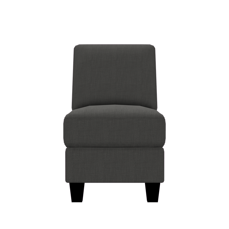 Designed2B Farah Linen-Look Fabric Armless Chair - Cabo Graphite - Armless Chair