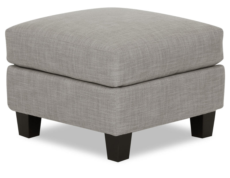 Designed2B Farah Linen-Look Fabric Ottoman - Cabo Silver - {Modern} style Ottoman in Cabo Silver {Solid Hardwoods}