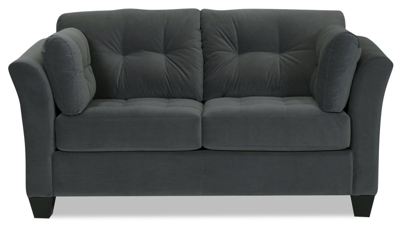 Designed2B Felix Velvet Loveseat - Kira Grey - {Contemporary} style Loveseat in Kira Grey {Solid Hardwoods}