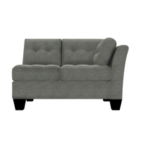 Designed2B Felix Velvet RAF Loveseat Sectional - Kira Platinum