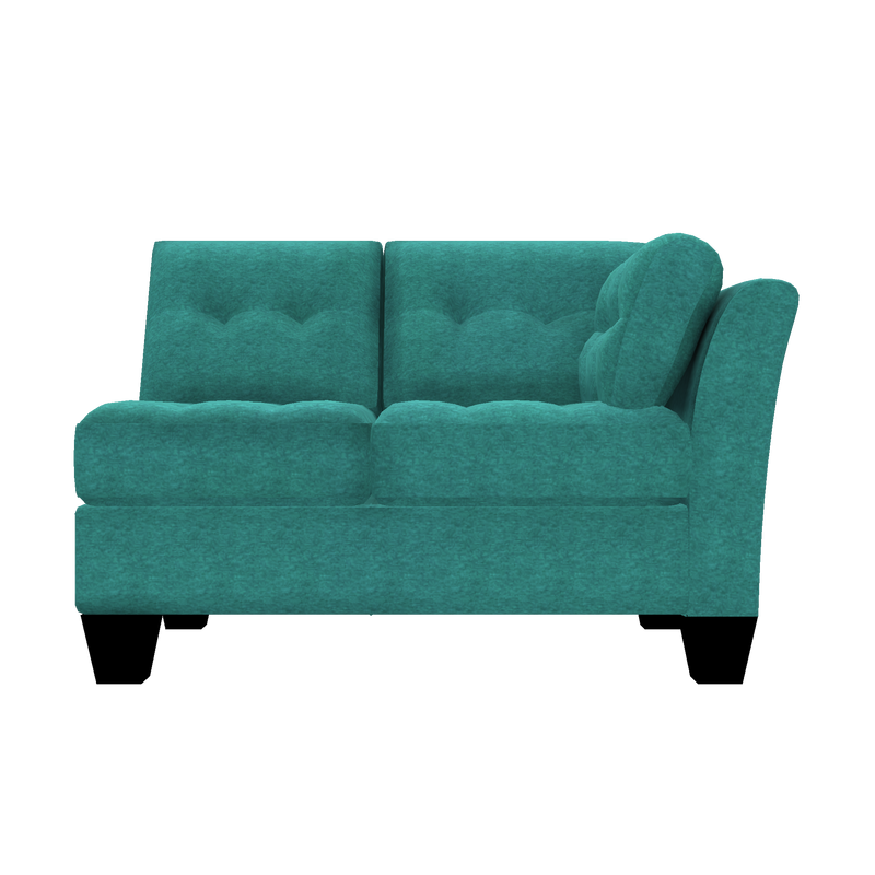 Designed2B Felix Chenille RAF Loveseat Sectional - Milo Teal - Raf Loveseat Sectional