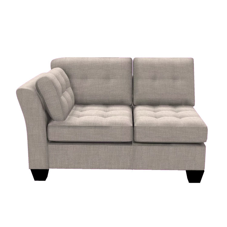 Designed2B Felix Linen-Look Fabric LAF Loveseat Sectional - Cabo Silver