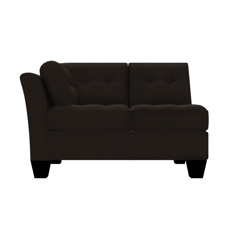 Designed2B Felix Textured Polyester LAF Loveseat Sectional - Plush Chocolate - Laf Loveseat Sectional
