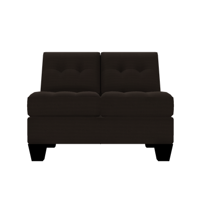 Designed2B Felix Textured Polyester Armless Loveseat - Plush Chocolate|Causeuse sans accoudoirs Felix Design à mon image en polyester texturé  - Plush chocolat|FE252479