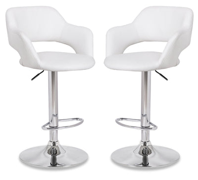 Finn Bar Stool, Set of 2 - White - {Modern} style Bar Stool in White {Metal}