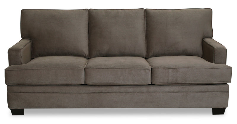 Designed2B Flora Textured Polyester Sofa - Plush Dark Ash - {Modern} style Sofa in Plush Dark Ash {Solid Hardwoods}