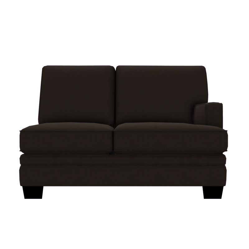 Designed2B Flora Textured Polyester RAF Loveseat Sectional - Plush Chocolate - Raf Loveseat Sectional