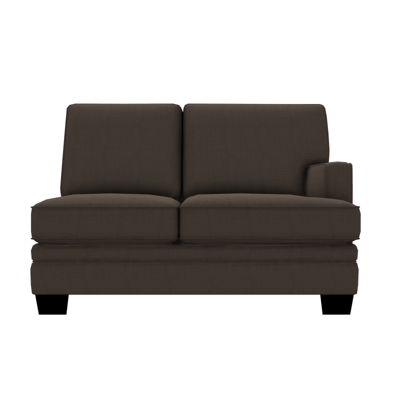 Designed2B Flora Textured Polyester RAF Loveseat Sectional - Plush Dark Ash - Raf Loveseat Sectional