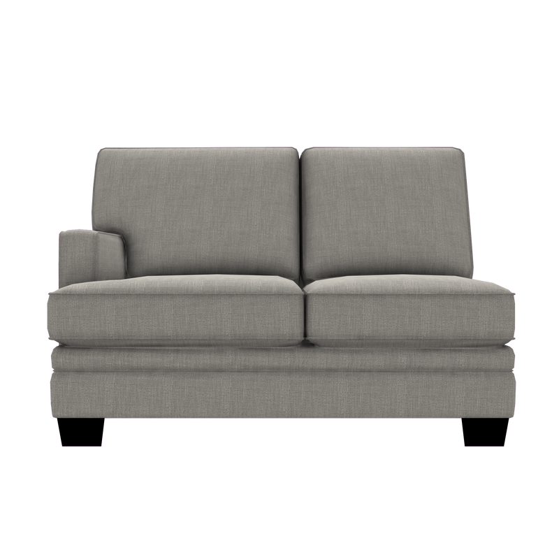 Designed2B Flora Linen-Look Fabric LAF Loveseat Sectional - Cabo Silver - Laf Loveseat Sectional