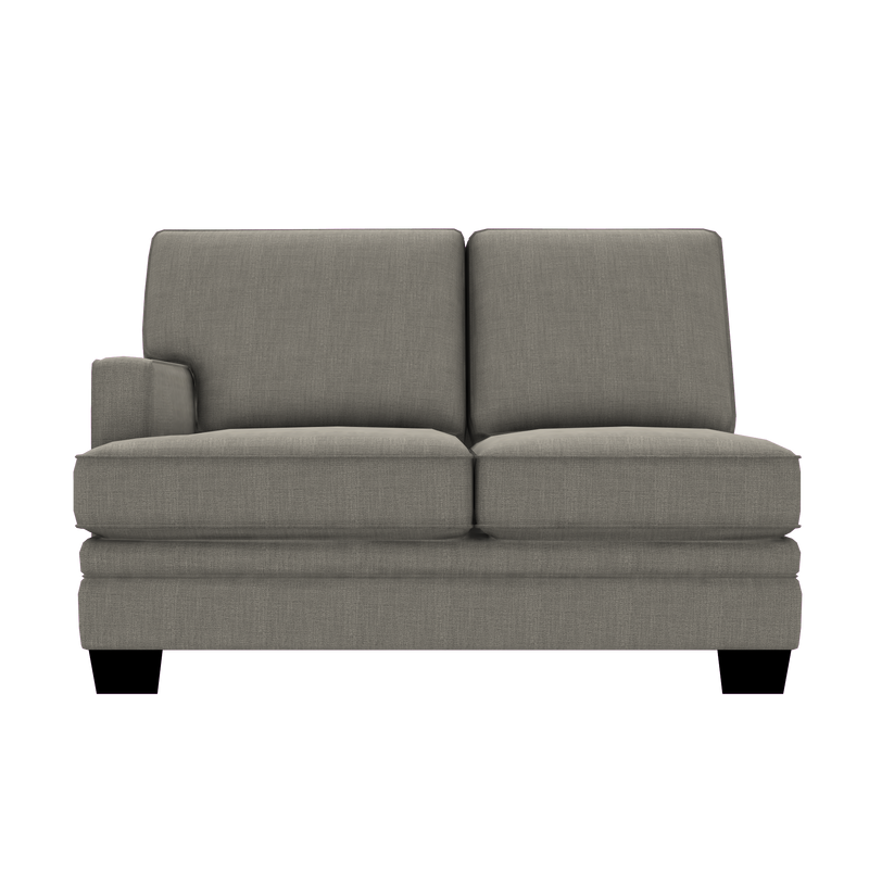 Designed2B Flora Linen-Look Fabric LAF Loveseat Sectional - Cabo Smoke - Laf Loveseat Sectional