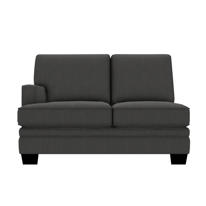 Designed2B Flora Linen-Look Fabric LAF Loveseat Sectional - Cabo Graphite - Laf Loveseat Sectional