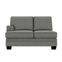 Designed2B Flora Velvet LAF Loveseat Sectional - Kira Platinum