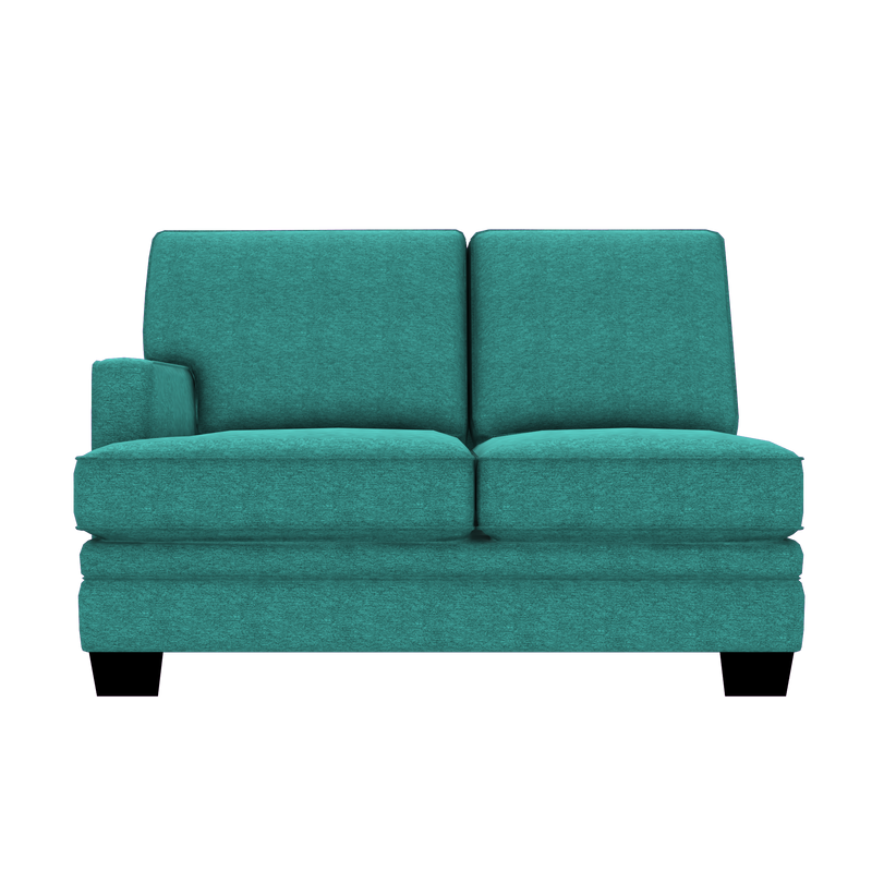 Designed2B Flora Chenille LAF Loveseat Sectional - Milo Teal - Laf Loveseat Sectional