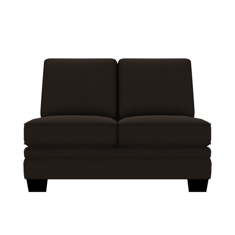 Designed2B Flora Textured Polyester Armless Loveseat - Plush Chocolate - Armless Loveseat