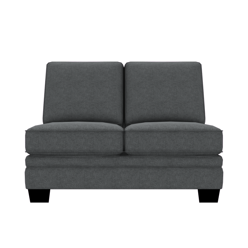 Designed2B Flora Velvet Armless Loveseat - Kira Grey - Armless Loveseat